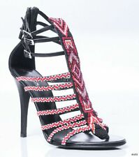 new $1295 GIUSEPPE ZANOTTI for BALMAIN black red BEADED T-strap shoes 38 8 -sexy