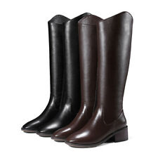 Chunky Heel Leather Pointy Toe Knee High Boots Fashion Womens Warm Winter Shoes