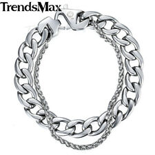 Wheat Curb Cuban Mens Bracelet Double Chain Stainless Steel Polish Silver Gold
