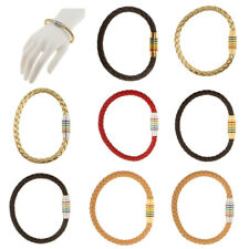 Braided Leather Stainless Steel Magnetic Clasp Wristband Bracelet Bangle