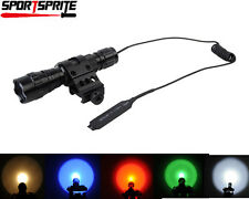 Red/Blue/Green/LED/Xenon Tactical Hunting Flashlight+Offset Mount+Remote Switch