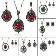Vintage Crystal Rhinestone Pendant Drop Necklace Earrings Women Jewelry Set Gift