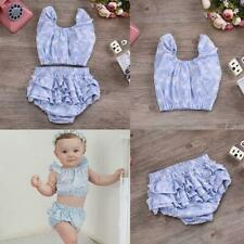 Infant Baby Girls Floral Sleeveless Tops Shirt+ Short Pant Set Clothes Blue 0-2T
