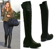 WOMENS LADIES LOW HEEL OVER THE KNEE HIGH ELASTIC STRETCH RIDING BIKER BOOTS SHO