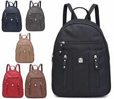 BLACK RUCKSACK FAUX LEATHER ZIP RETRO BACKPACK SCHOOL FASHION GIRLS SHOULDER BAG