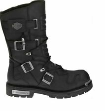 """Harley-Davidson® Mens 10"""" Tall Axel Riding Black Leather Motorcycle Boots D96035"""