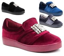 WOMENS FASHION TRAINERS FLAT SLIP ON VELVET PUMPS SNEAKERS CASUAL SHOES 3-8 UK
