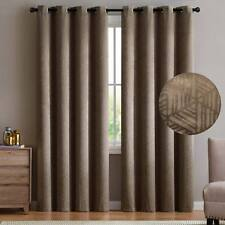 2 Blackout Window Curtains Taupe Embossed Pattern Grommet Panel Pair Drape