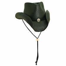 NEW SCALA WESTERN 8BU SOFT TOYO STRAW CHIN CORD COWBOY HAT BLACK S/M, L/XL