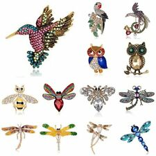 Fashion Animal Owl Dragonfly Bee Crystal Pearl Brooch Pin Women Costume Jewelry