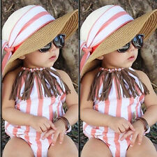 Stripe Toddler Infant Baby Girls Stripe Tassel Halter Backless Romper Playsuit