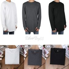 New 2017 Mens Sports Casual Loose T-shirt Long Sleeve Cotton O Neck Tee Tops