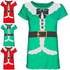 Womens Ladies Santa Claus Costume Ribbon Belted Christmas Cap Sleeve T Shirt Top