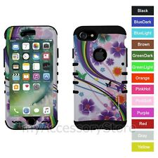 For iPhone 8 Flower Butterfly Rainbow Hybrid Rugged Armor Protective Case Cover