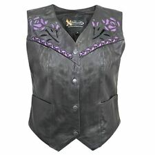 Xelement Women's XS-125077 Leather Biker Vest with Rose Inlay and Braid