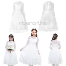 Flower Girl Lace Mesh Long Sleeves Princess Pageant Wedding Birthday Party Dress