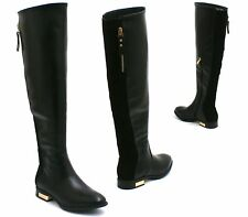 WOMENS LADIES KNEE HIGH FLAT LOW HEEL LEATHER SUEDE CALF RIDING BOOTS SIZE