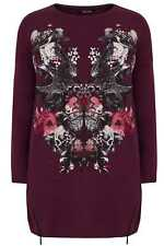 YoursClothing Plus Size Womens Floral Mirror Print Longline Sweatshirt Zip Hem