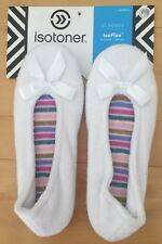 ISOTONER TERRY BALLET SLIPPERS-WHITE-SM 5-6,MD 6.5-7.5