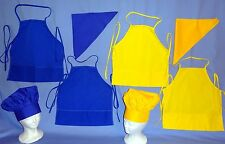 child's chef apron and hat set bandanna yellow/blue arts-crafts gardening baker