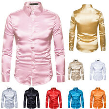 Casual Mens Korean Shirts Fitted Dress Shirts Business Long Sleeve Solid Tops