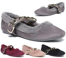 WOMENS FLAT FAUX SUEDE MOCCASSIN BALLERINA STUDDED STRAP PUMPS SLIP ON SHOES