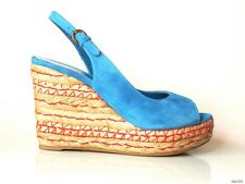 new SERGIO ROSSI open-toe turquoise blue suede platforms WEDGES shoes - gorgeous