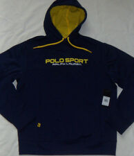 New Mens Ralph Lauren POLO Sport Performance Hoodie Size L French Navy/Yellow