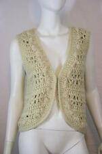 Boho Hippie Forever 21 Open Knit Cream Festival Vest Cardigan Sweater L