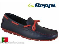 BEPPI DECK SHOES - HAND MADE IN PORTUGAL - LEATHER BOAT SHOES - NAVY