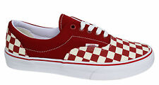 Vans Off The Wall Era Checkerboard Unisex Red White Lace Up Canvas Trainers
