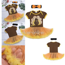 Newborn Baby Kid Girl Turkey Top Outfit Romper Headband Set Thanksgiving Clothes