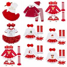 1st Christmas Santa Romper Infant Baby Girl Bodysuit Headband Tutu Dress Outfit