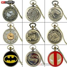 Antique Bronze Steampunk Pocket Watch Chain Quartz Vintage Pendant Necklace Gift