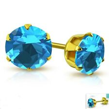 Blue Topa color Stud Earrings Yellow Gold PVD Hypoallergenic