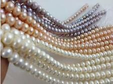 """7-8mm/8-9mm/9-10mm White Pink Purple Akoya Cultured Pearl loose Beads 15"""""""