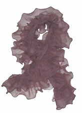 $595 Ralph Lauren Collection Purple Label Womens Italy Silk Ruffled Scarf New
