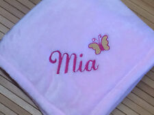 Personalized Monogrammed Cute Butterfly Accent  Baby Girl Blanket
