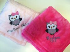 Personalized Monogrammed Cute Owl Baby Girl Blanket