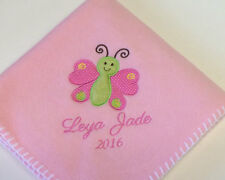 Personalized Monogrammed Cute Butterfly Baby Girl Blanket