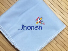 Personalized Monogrammed Cute Airplane Accent  Baby Boy Blanket