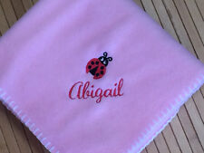 Personalized Monogrammed Cute Ladybug Accent  Baby Girl Blanket