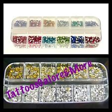NAIL ART, GOLD SILVER & MULTI-COLOURED RHINE STONES, NAIL GEMS, STOCKING FILLER