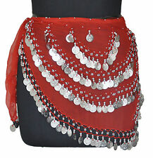 Belly Dancing Hip Scarf Wrap Gypse Costume Opera Skirt Bra Red / Silver Coin CH