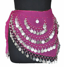 Belly Dancing Hip Scarf Wrap Gypse Costume Opera Skirt Belt Pink /Silver Coin CH