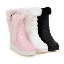 Low Wedge Heels Rabbit Fur Furry Warm Snow Boots Womens Winter Cute Casual Boots