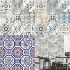 PATTERNED TILES WALLPAPER - CERAMIC, MARBLE, TROPICS BRASILIA, MORROCAN BLUE