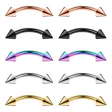 10 Pieces 16G 316L Stainless Steel Spikes Eyebrow Ear Lip Navel Ring Piercings