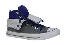 Converse All Star Womens Roll Top Mid Grey Purple Lace Up Canvas Trainers