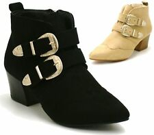 Womens Black Nude Low Mid Heels Buckle Western Style Ankle Boots Ladies Shoes Si